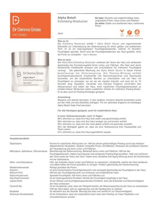 DR DENNIS GROSS Alpha Beta Exfoliating Moisturizer TXT