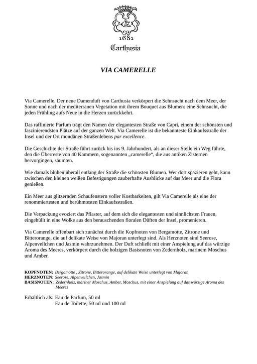 Carthusia Camerelle TXT