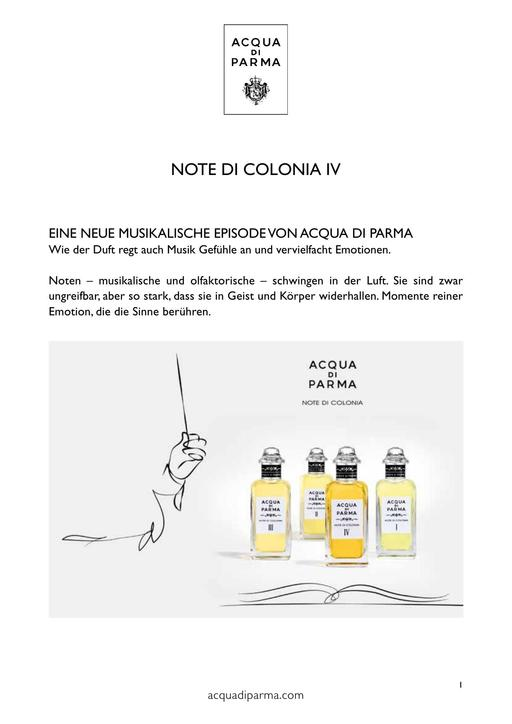 ACQUA Di PARMA Note di Colonia IV TXT