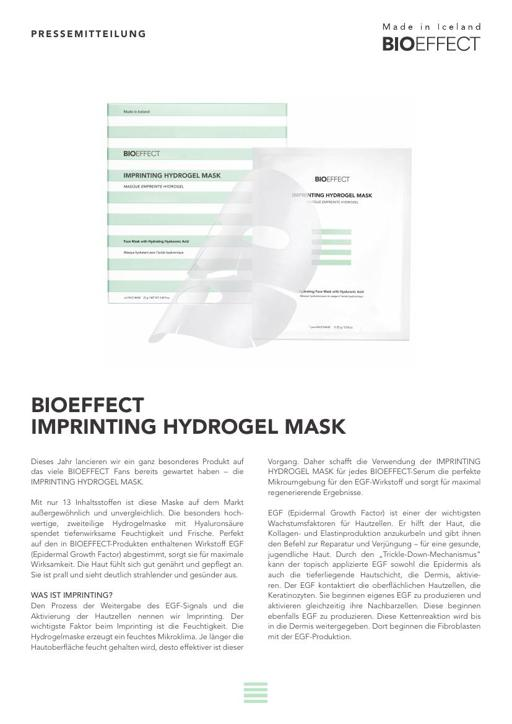 BIOEFFECT Imprinting Hydrogel Mask TXT