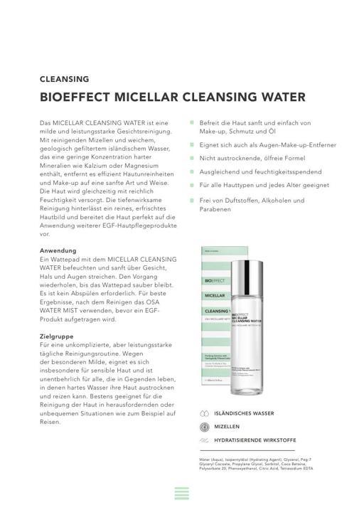 BIOEFFECT MICELLAR CLEANSING WATER TXT