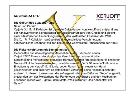 XERJOFF Markenbeschreibung Duftbeschreibung