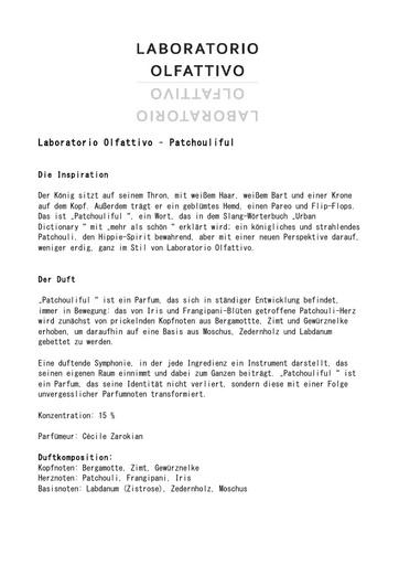 Laboratorio Olfattivo EdP Patchouliful TXT