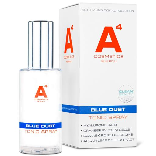 A4 Cosmetics Blue Dust Tonic Spray mit Verpackung