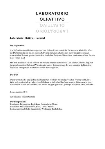 Laboratorio Olfattivo EdP Cozumel TXT