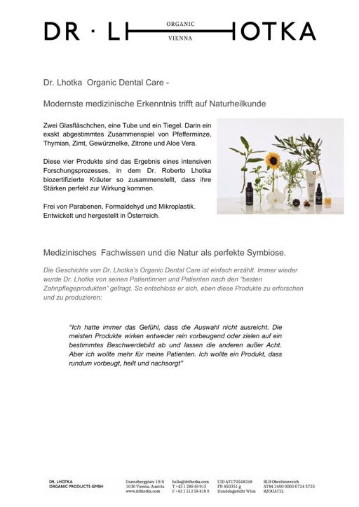 Dr  Lhotka Markenbeschreibung Produkbeschreibung