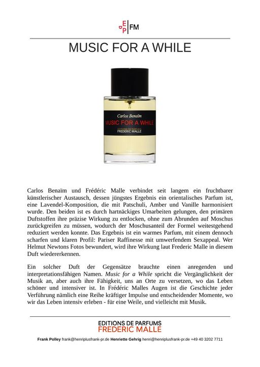 Frederic Malle Music For A While TXT