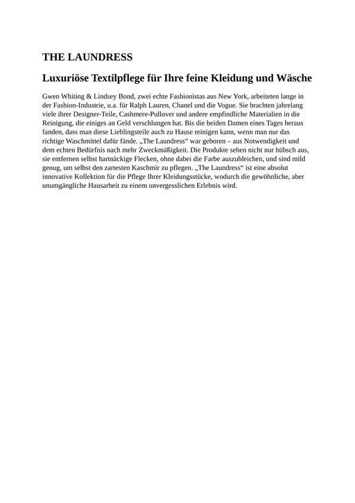 The Laundress Markenbeschreibung