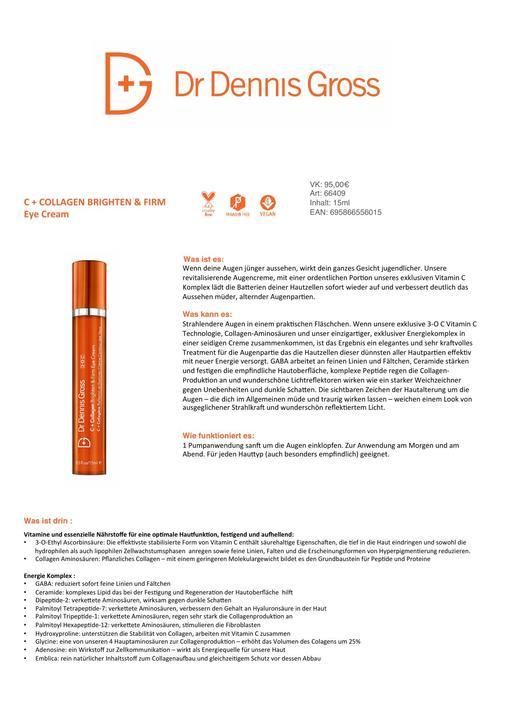 DR DENNIS GROSS C+ Collagen Brighten & Firm Eye Cream TXT