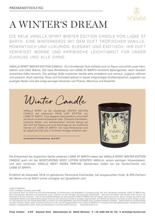 LIGNE ST BARTH VANILLA SPIRIT Winter Edition Candle TXT